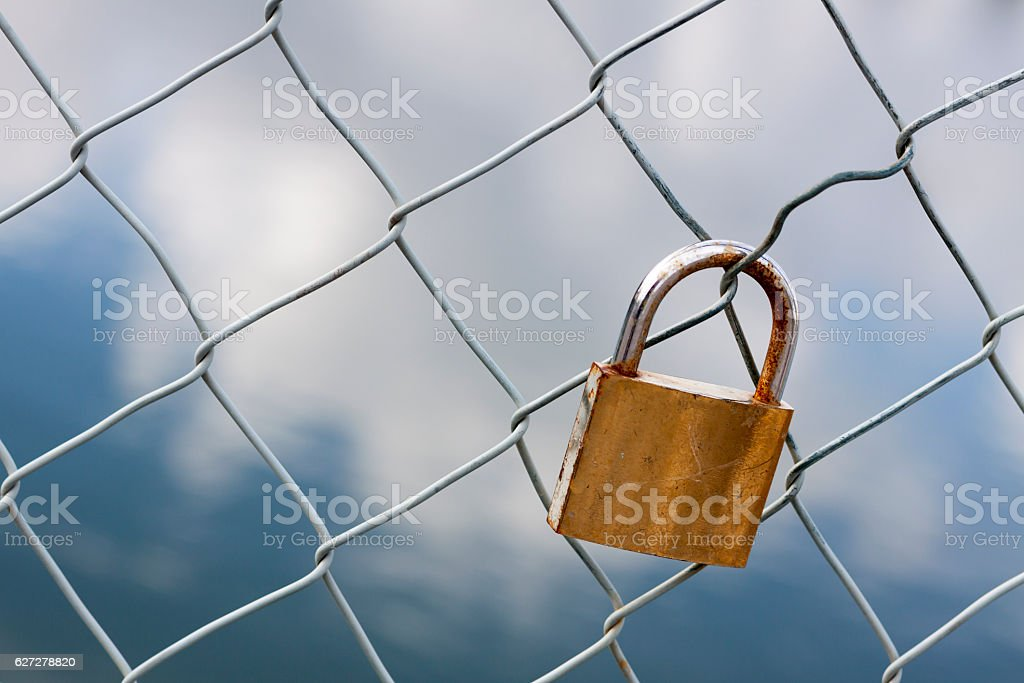 Love padlock on fence stock photo