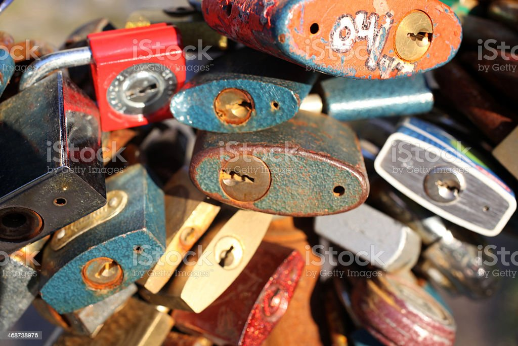 Love padlocks as background stock photo