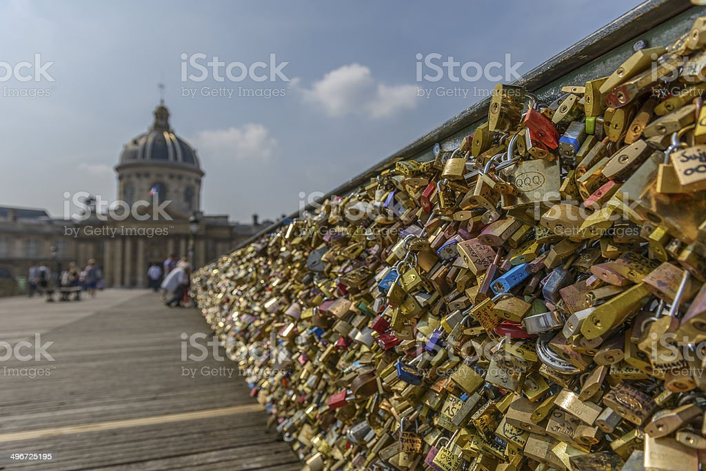 Love padlocks at Pont des Arts stock photo