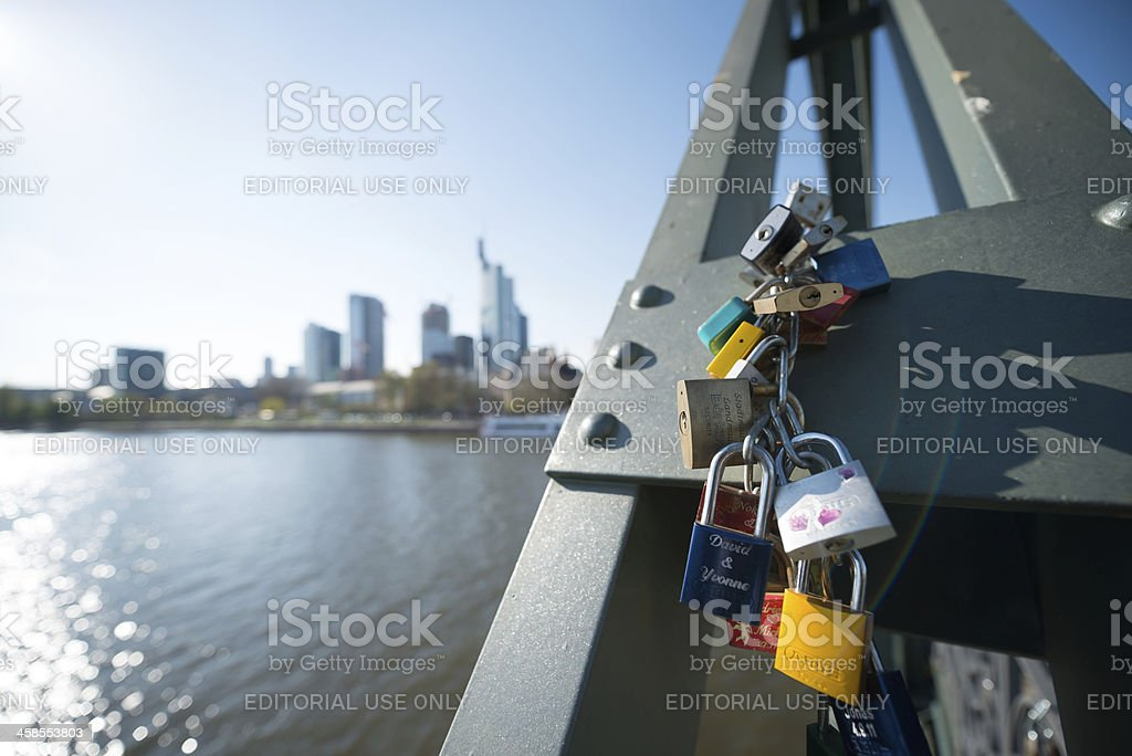 Love Padlocks at the Eiserner Steg in Frankfurt royalty-free stock photo