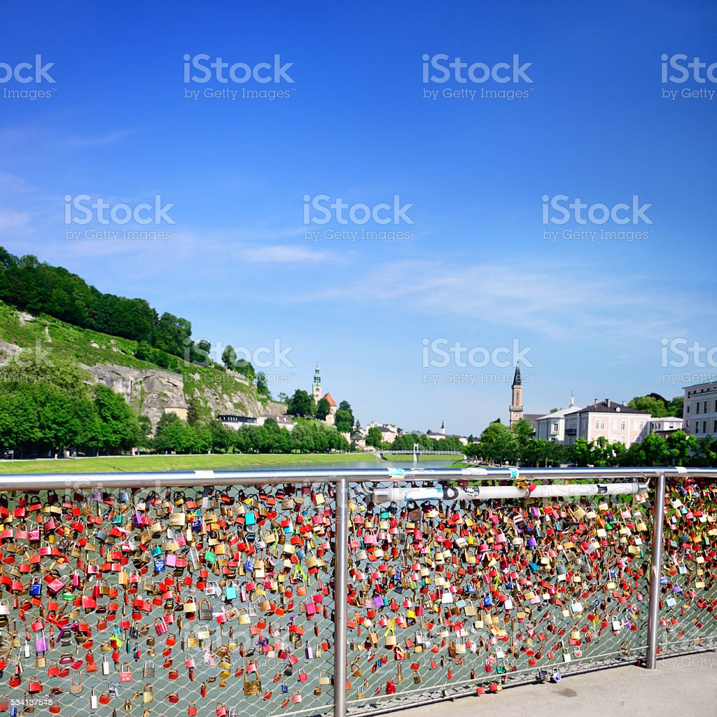 Love padlocks in Salzburg stock photo
