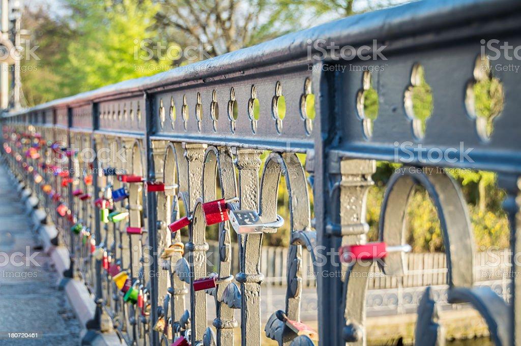 Love Padlocks on a Bridge in Hamburg royalty-free stock photo