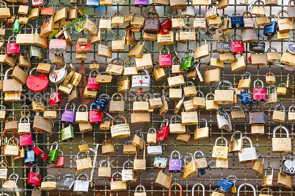 Love padlocks on bridge stock photo