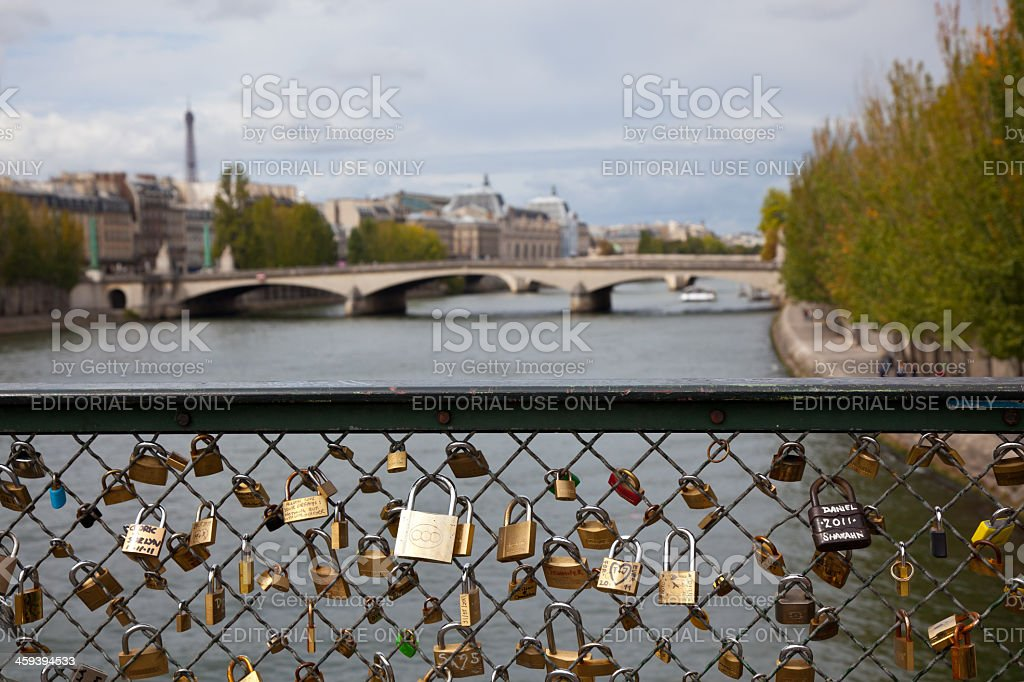 Love Padlocks on Pont des Arts Bridge, Paris, France stock photo