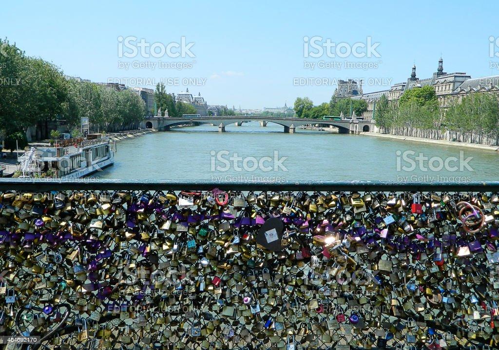 Love Padlocks on Pont des Arts bridge, Paris stock photo