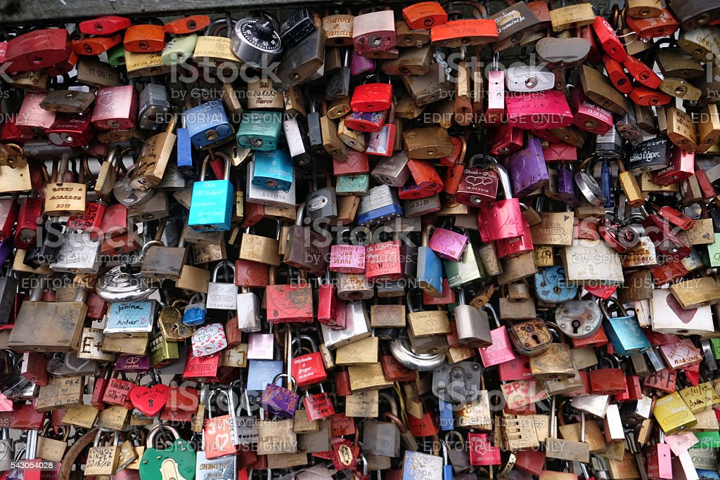 Love padlocks on the Hohenzollern Bridge in Cologne. stock photo