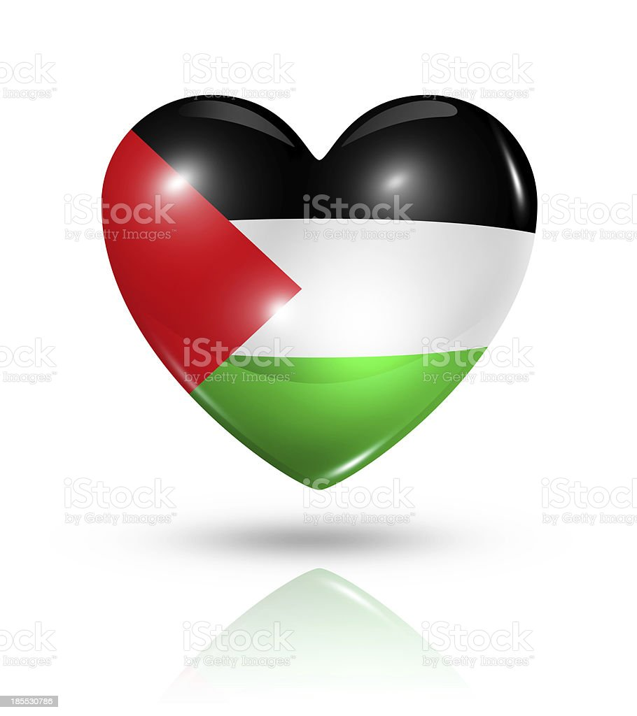 Love Palestine, heart flag icon stock photo