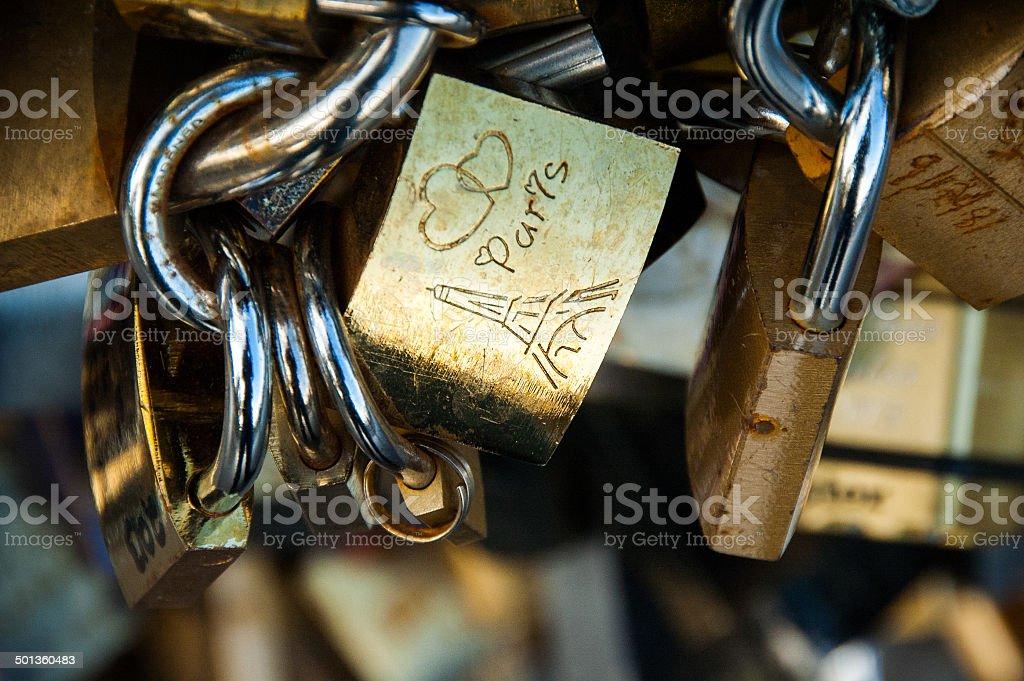 'I Love Paris' padlock on Paris bridge royalty-free stock photo