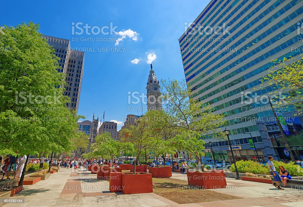 Love Park with tourists and Philadelphia City Hall on background stock photo