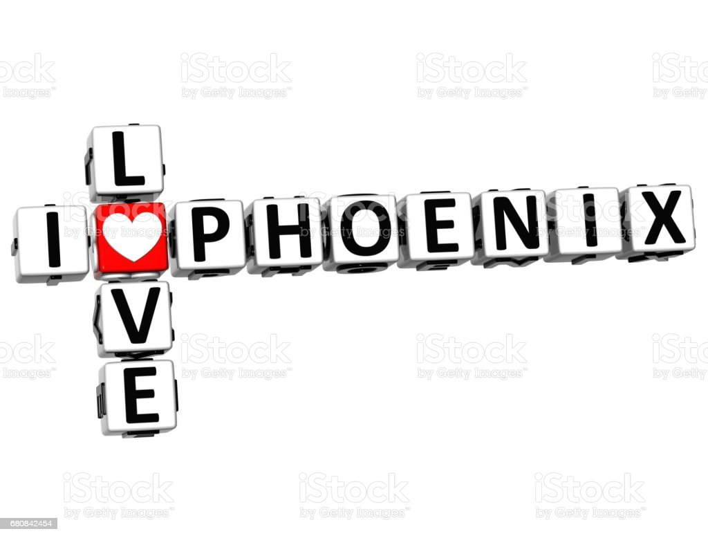 3D I Love Phoenix Crossword vector art illustration