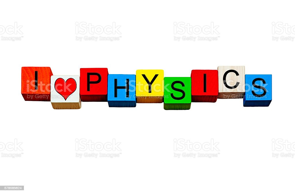 I Love Physics for science and education, isolated. stock photo