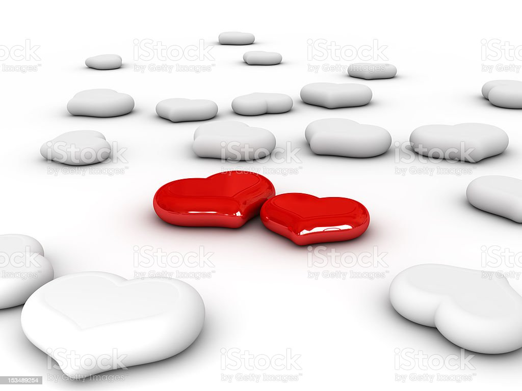 Love (Two red hearts) royalty-free stock photo