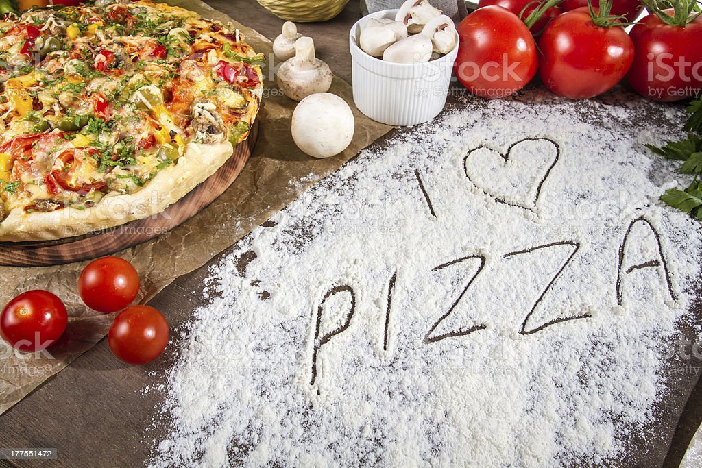 I love pizza written in flour royalty-free stock photo