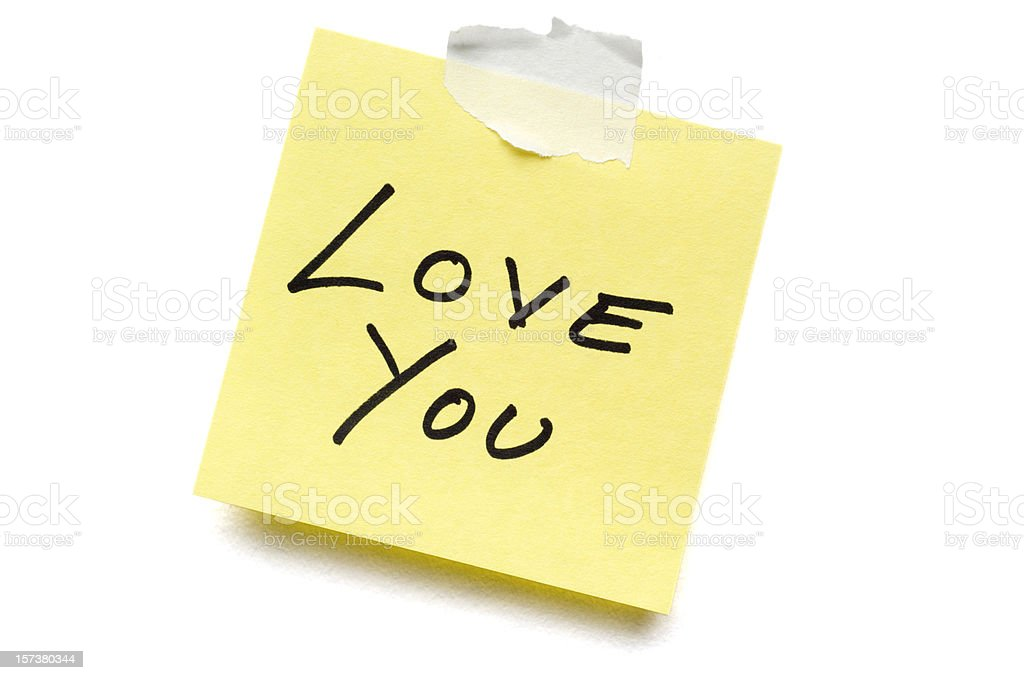 Love Post-it Note isolated on white royalty-free stock photo