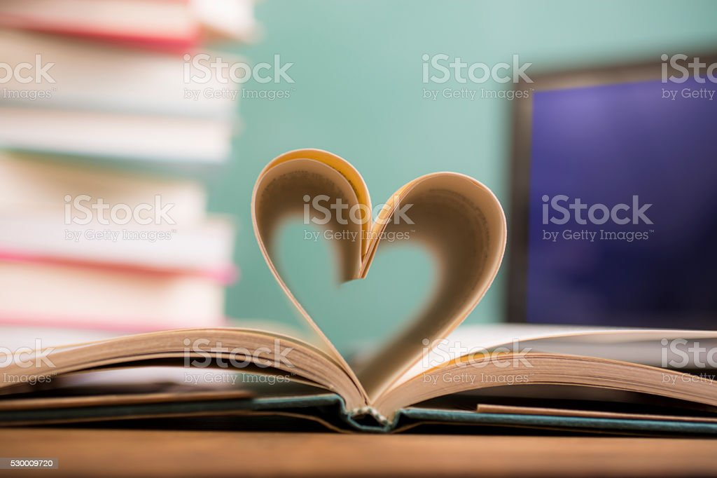 Love Reading!  Heart shape in open book pages. Education, school. stock photo