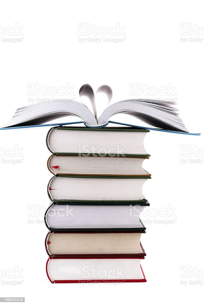 Love reading:books in heart shape royalty-free stock photo