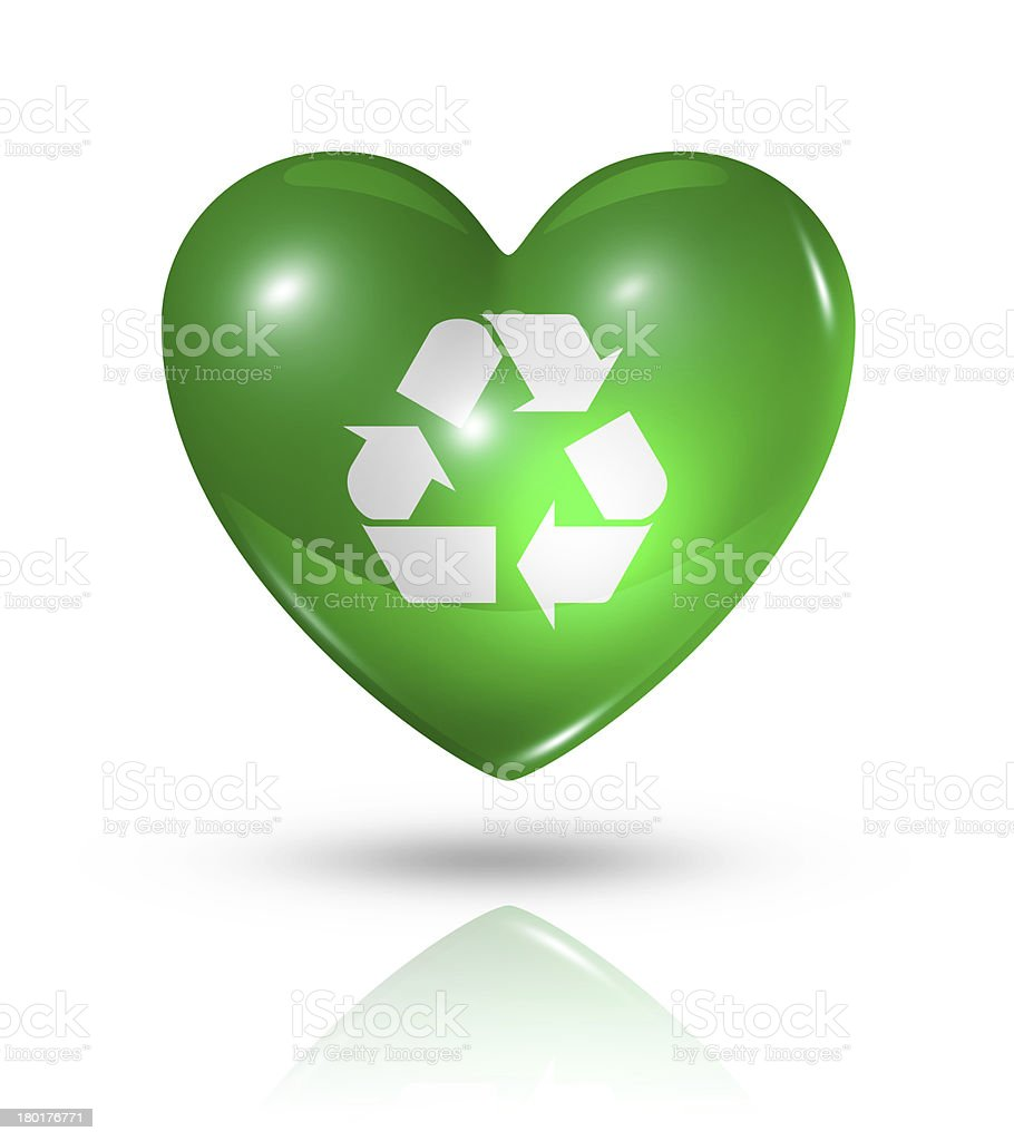Love recycling symbol, heart flag icon royalty-free stock photo