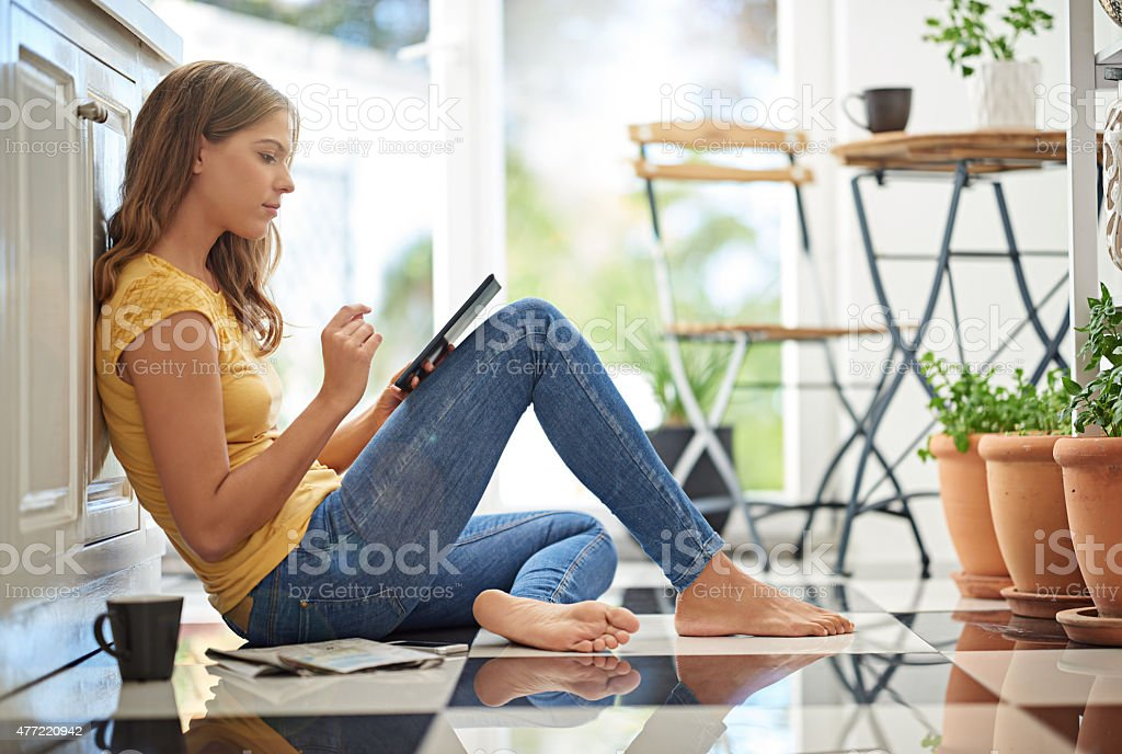 I love relaxing in the kitchen stock photo
