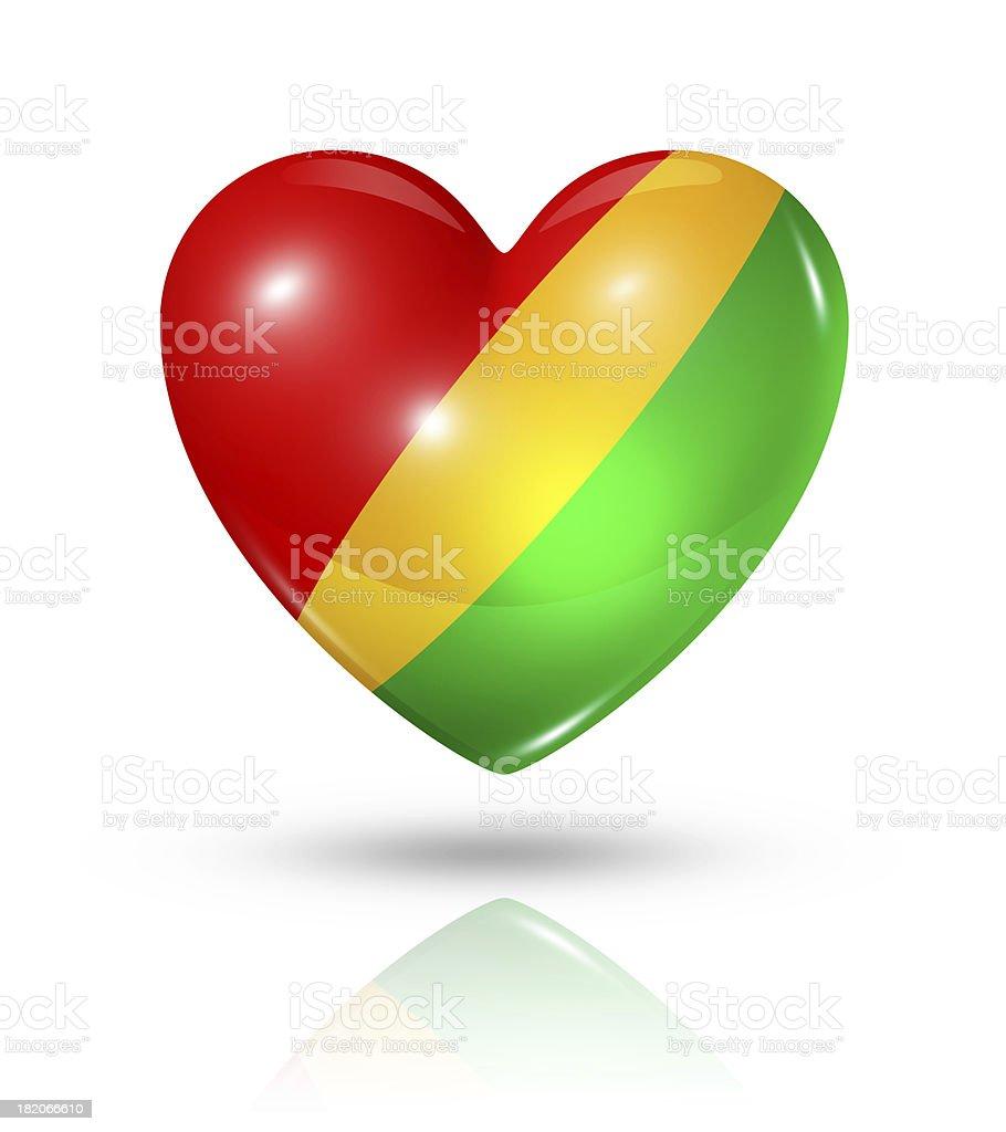 Love Republic of the Congo, heart flag icon stock photo