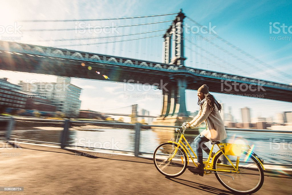 I love riding my bike in Brooklyn stock photo