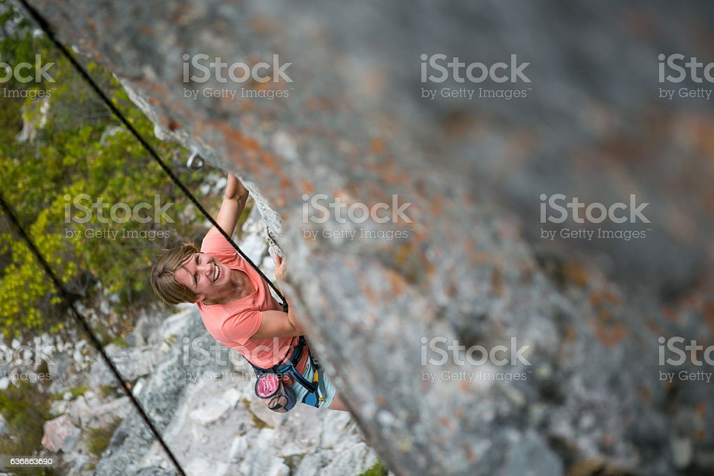 I love rock climbing! stock photo
