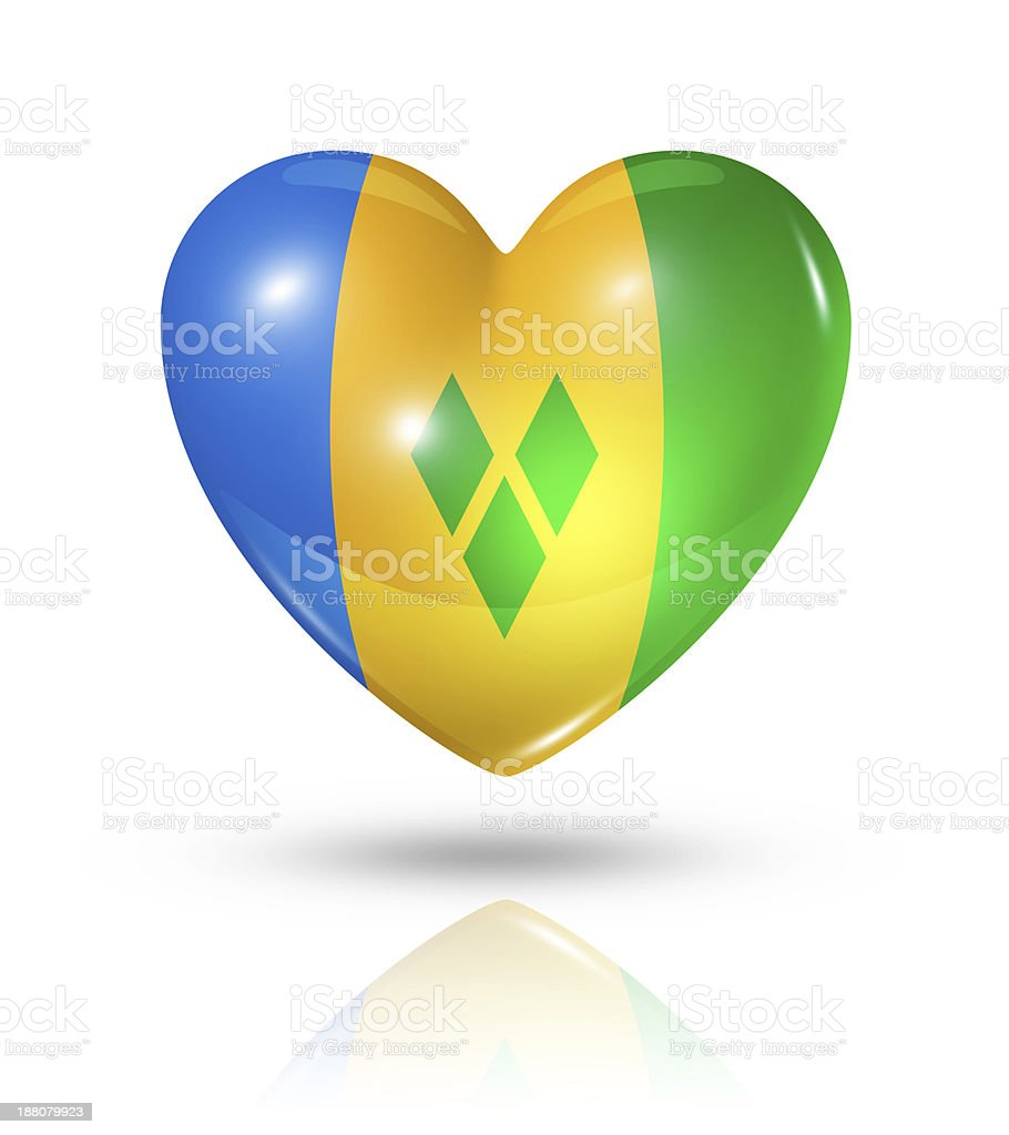 Love Saint Vincent and the Grenadines, heart flag icon stock photo