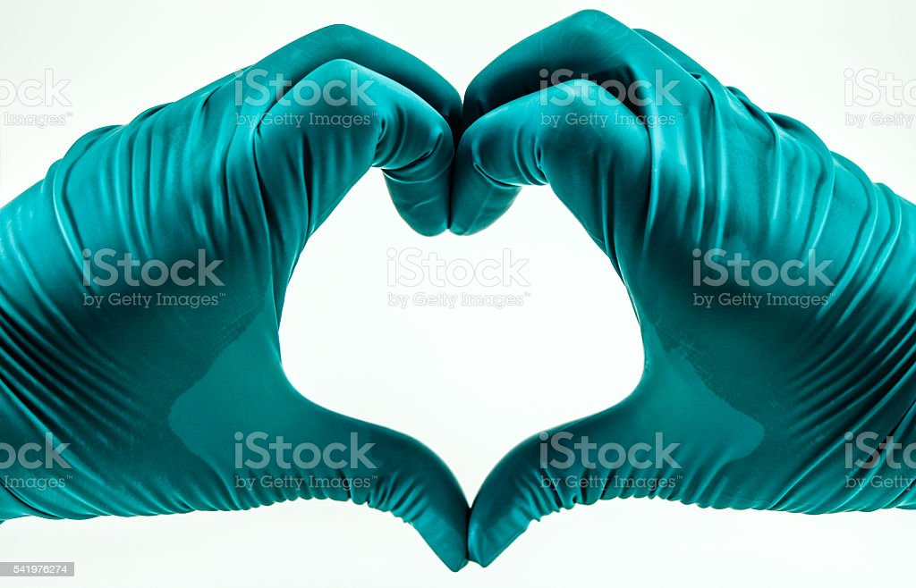 I Love Science. My hands wear green gloved. stock photo