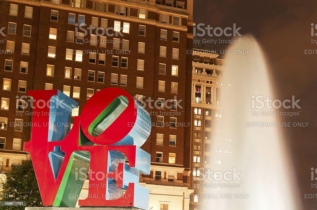 Love sculpture in Philadelphia downtown at twilight stock photo