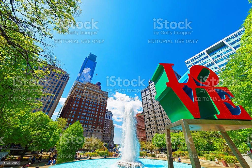 Love sculpture in the Love Park in Philadelphia PA stock photo