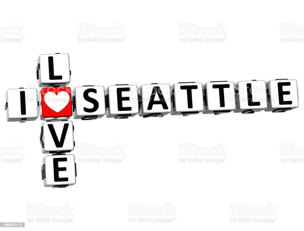3D I Love Seattle Crossword vector art illustration