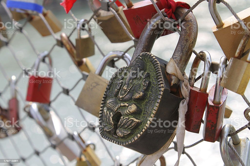 Love secured with a padlock stock photo