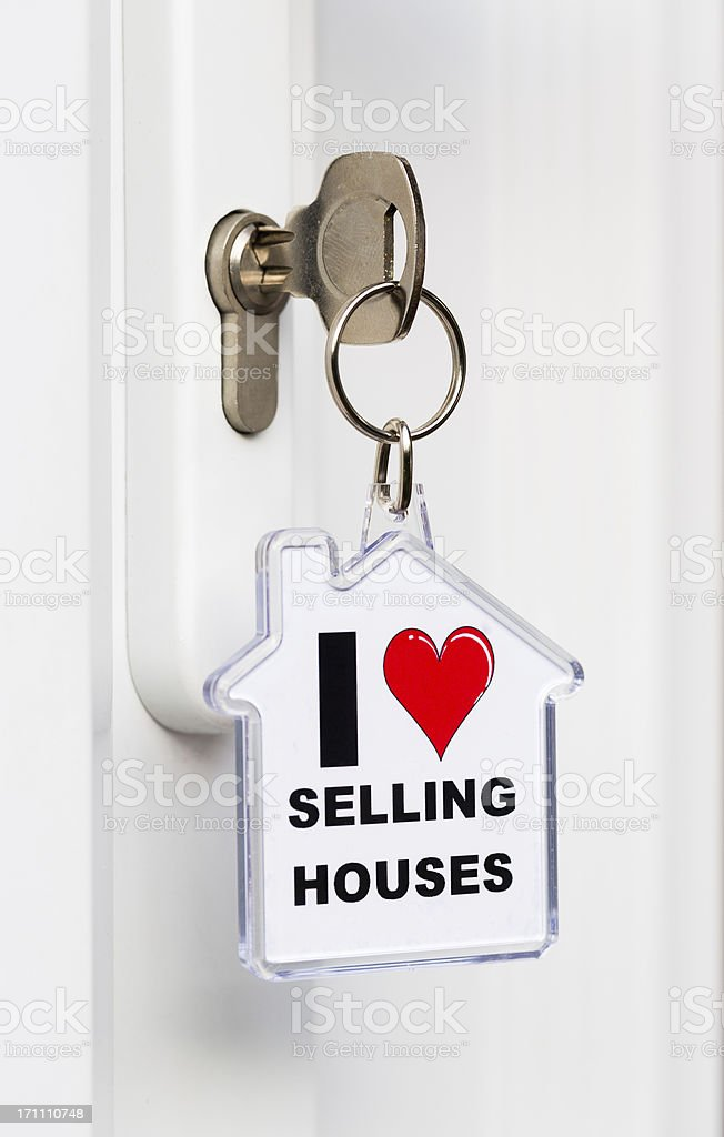 'I Love Selling Houses' key ring royalty-free stock photo