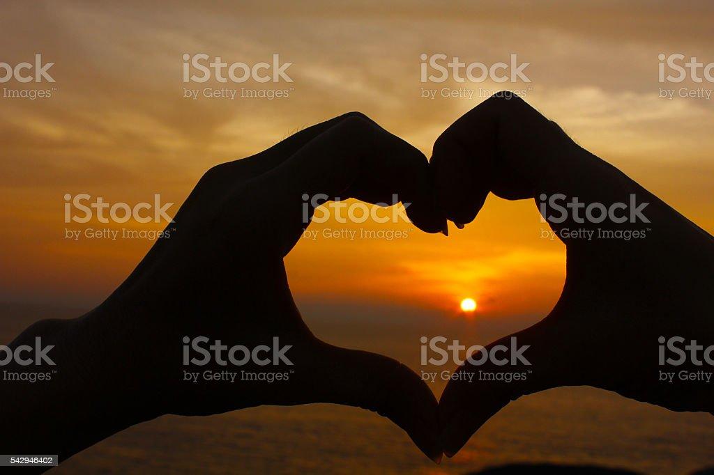 Love shape hand silhouette Lizenzfreies stock-foto