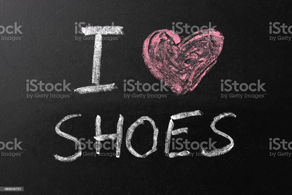 I Love Shoes Text on Blackboard royalty-free stock photo