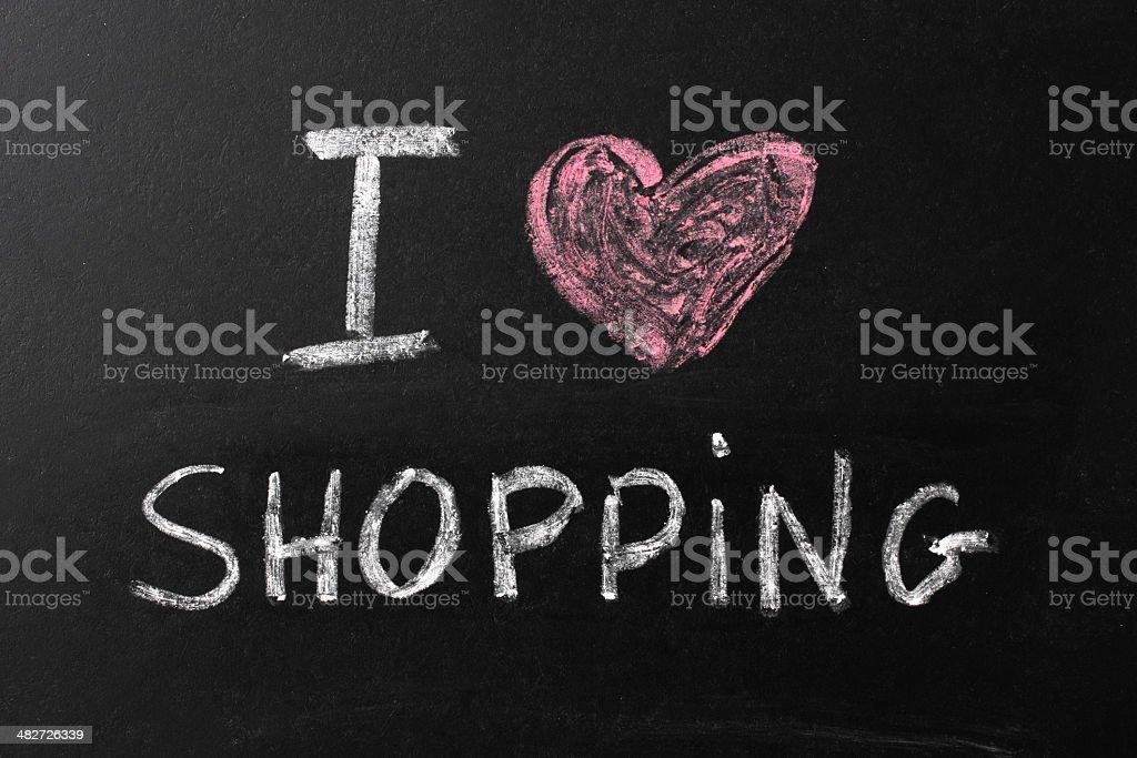 I Love Shopping Chalk Text on Blackboard royalty-free stock photo