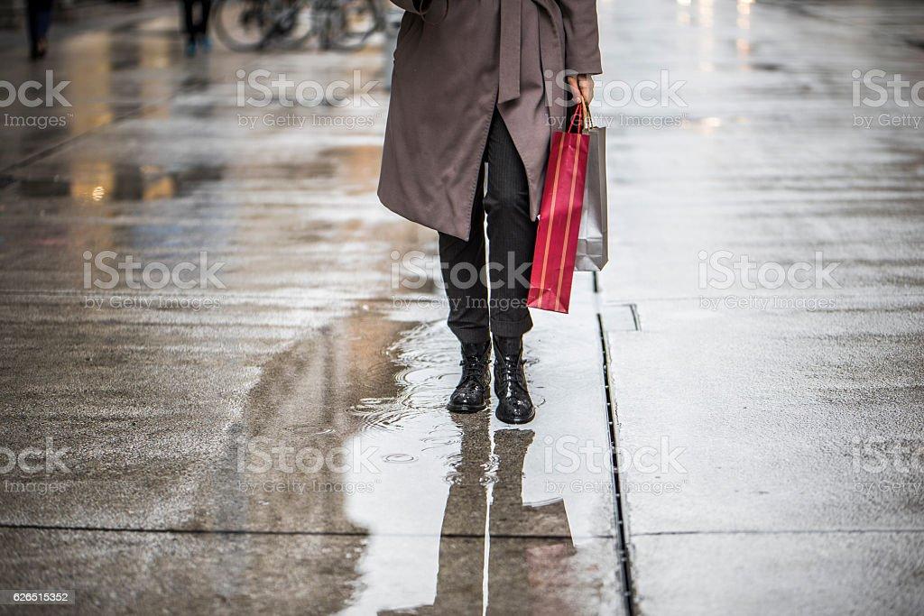 I love shopping in the rain stock photo