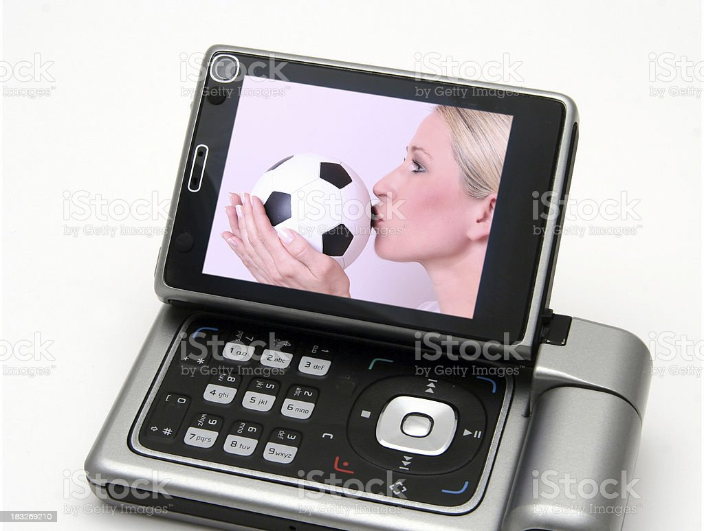 I love soccer on mobile TV royalty-free stock photo