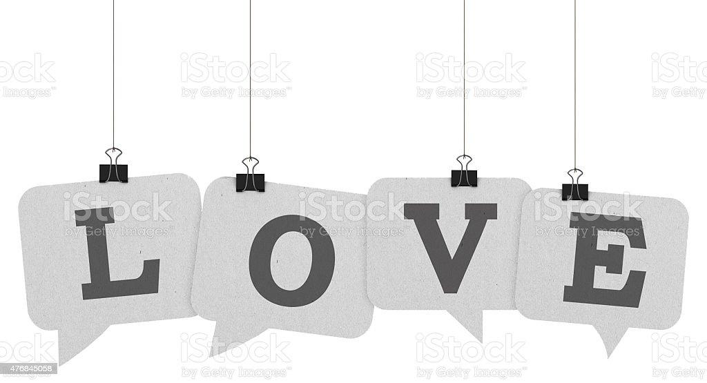 Love speech bubble word stock photo