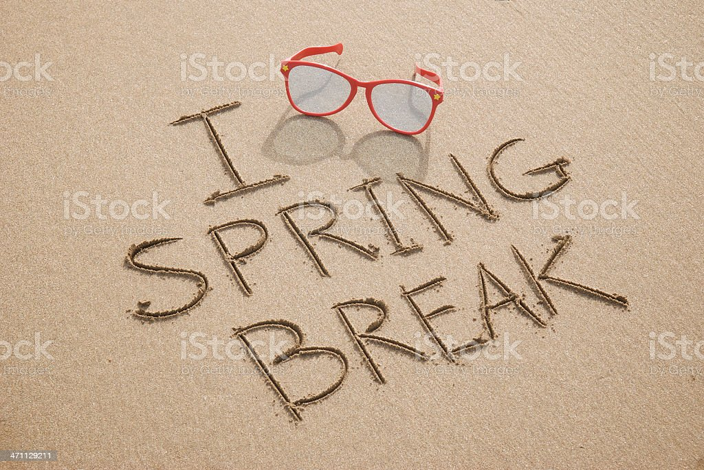 I Love Spring Break Beach Message with Sunglasses royalty-free stock photo
