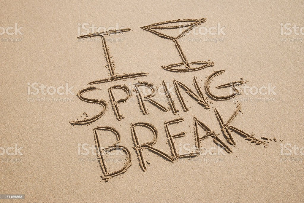 I Love Spring Break Message with Cocktail Glass stock photo