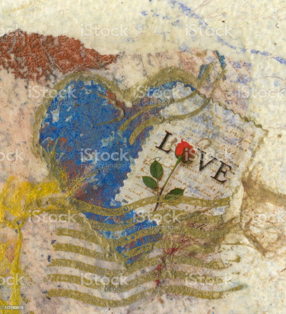 Love Stamp Collage Fragment royalty-free stock photo