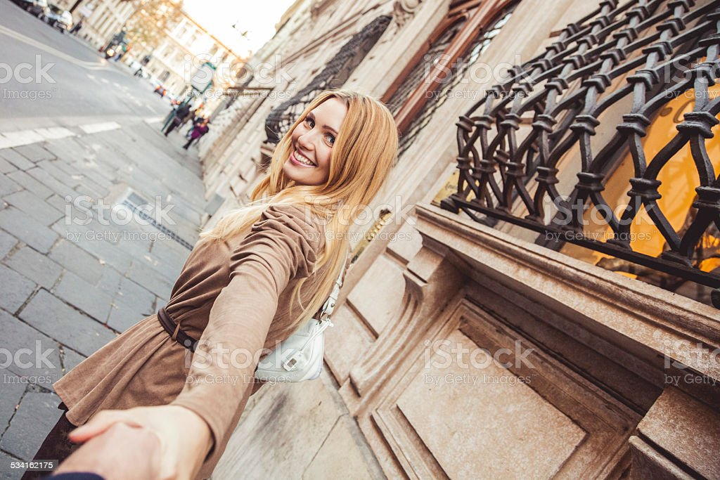 Love story in Rome downtown stock photo