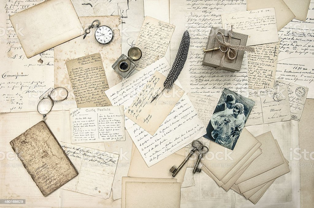 love story. old letters, vintage postcards stock photo