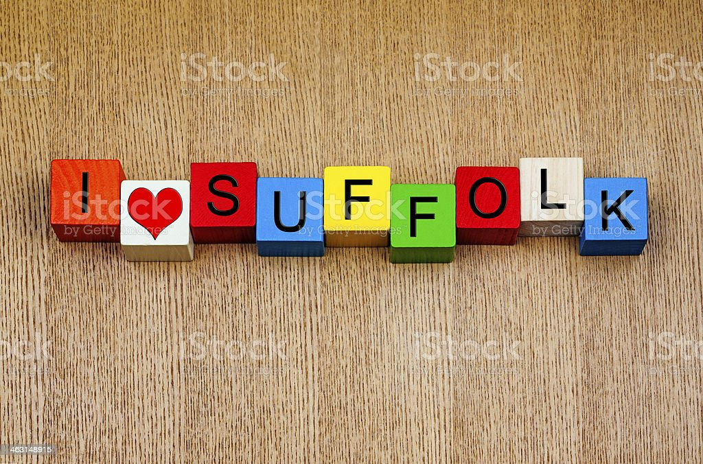 I Love Suffolk, sign for English counties and place names stock photo