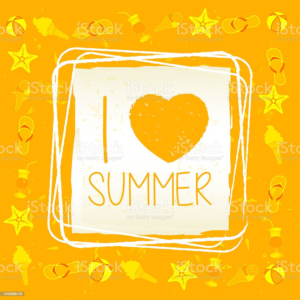 I love summer with signs in square frame, label stock photo