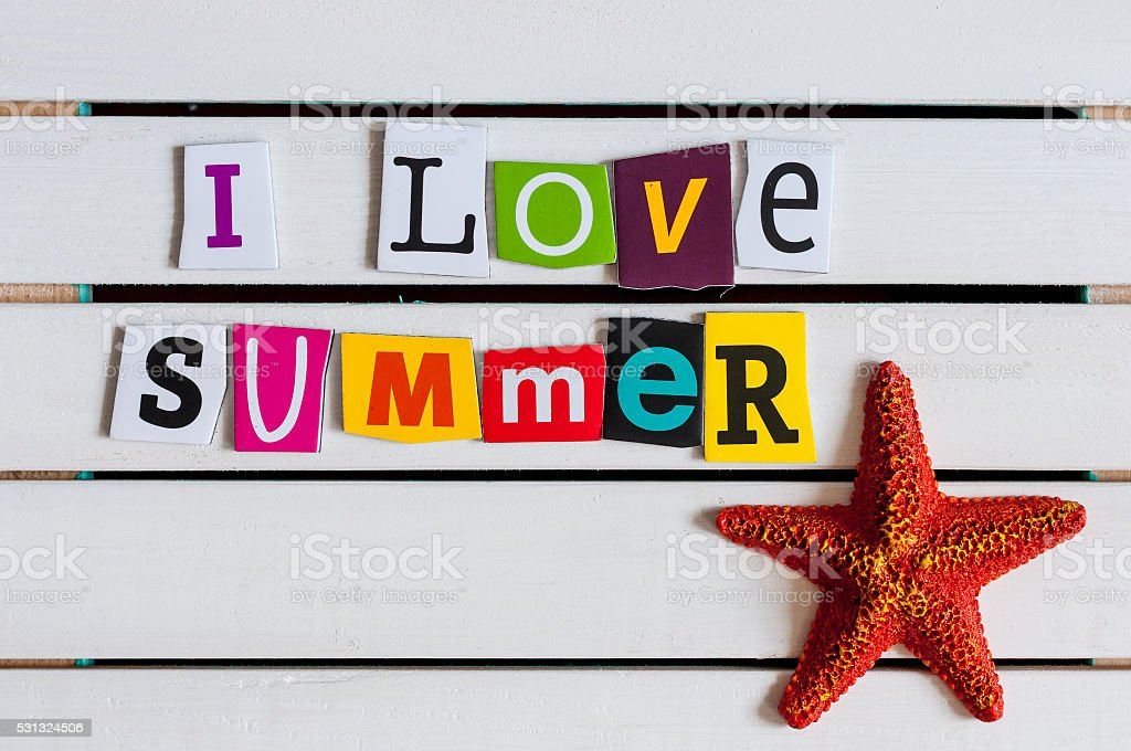 I Love Summer - written with color magazine letter clippings stock photo