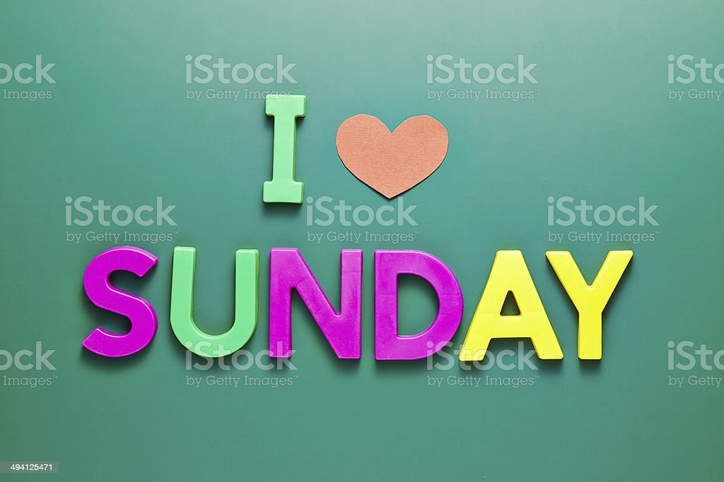 I love Sunday phrase on the blackboard stock photo