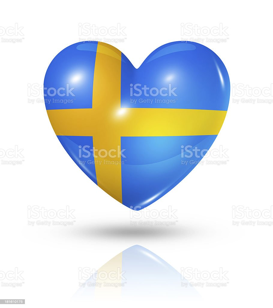 Love Sweden, heart flag icon stock photo