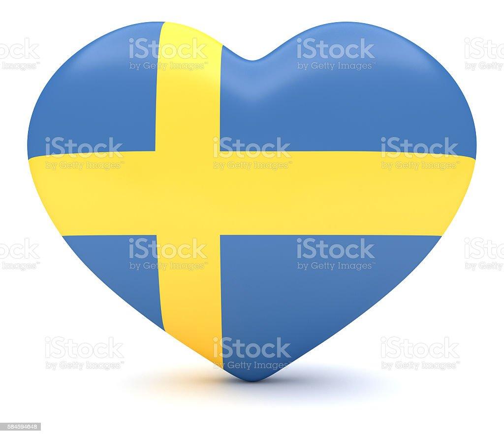 Love Sweden: Swedish Flag Heart, 3d illustration stock photo