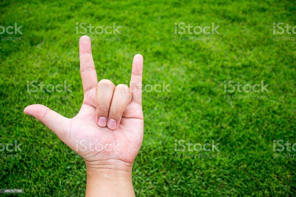 love symbol with finger language stock photo